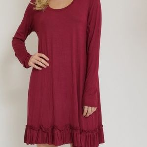 Burgundy Long Sleeve Ruffle Bottom Hem Shift Dress